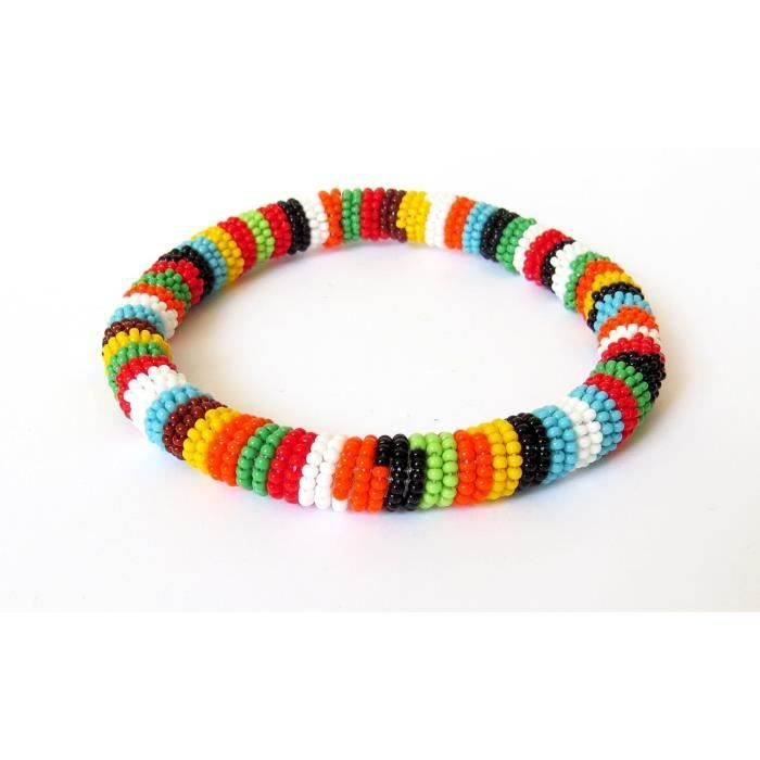 Womens African Zulu Beaded Necklace And Round Bracelet Set - Multicolour Three (orange) - Gift For HV8WH