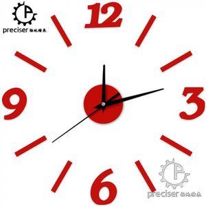 HORLOGE - PENDULE Version Rouge - Arabe Nombre Numérique Horloge Mur