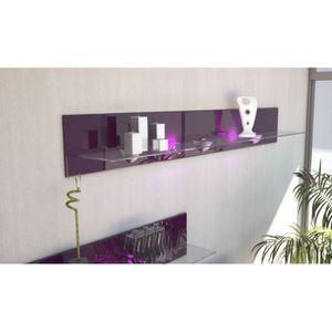 ETAGÈRE MURALE Etagère design en bois et verre mûre avec led 146