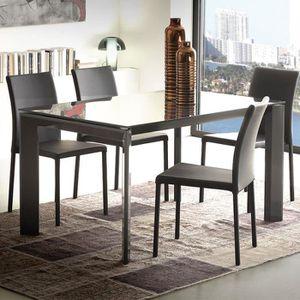 TABLE À MANGER SEULE Table à manger noire en verre extensible design AM