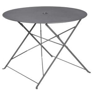 TABLE À MANGER SEULE Table ronde pliante en métal, coloris anthracite -