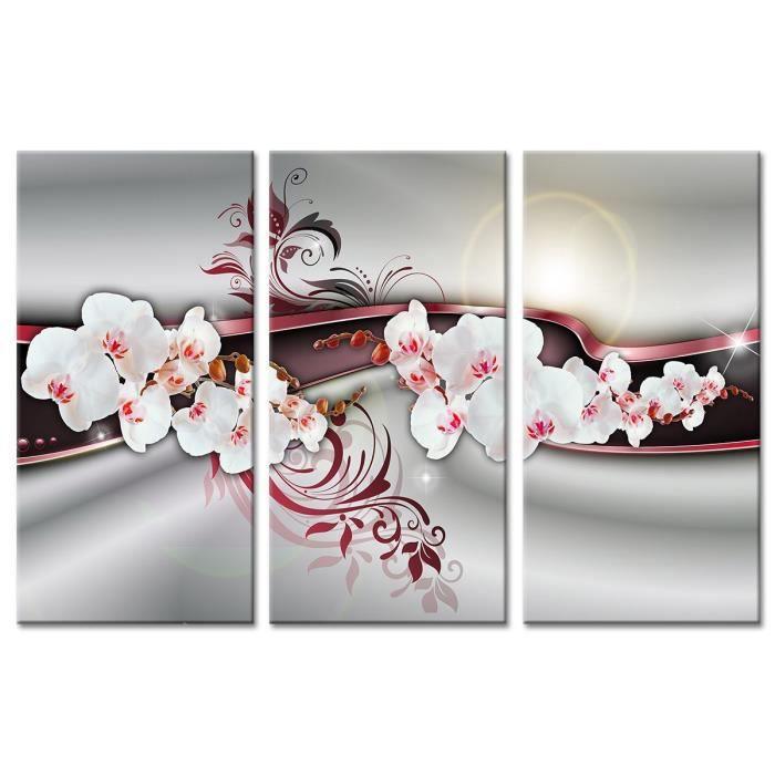 tableau d co triptyque fleurs d co orchid es 120x80 cm achat vente tableau toile bois. Black Bedroom Furniture Sets. Home Design Ideas