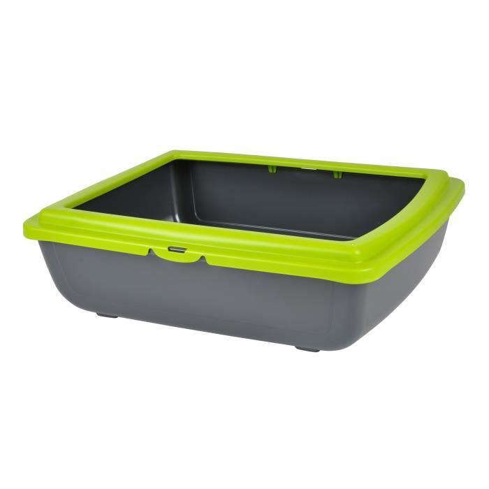 Bac à litière en plastique avec rebord vert anis 46x36xh12cm pour chat