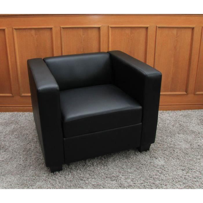 Fauteuil Club Lounge Lille 86x75x70cm cuir reconstitué noir