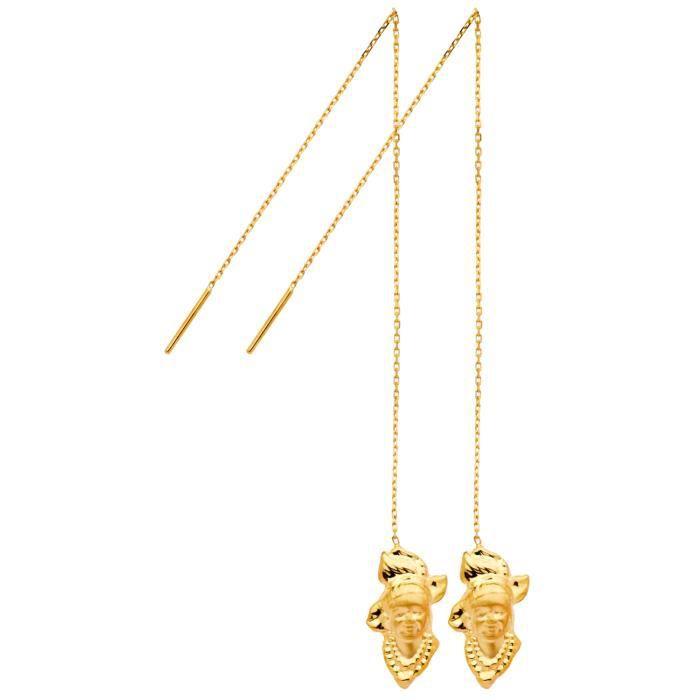 Boucles doreilles pendant antillais or 18 carats   Diamantly