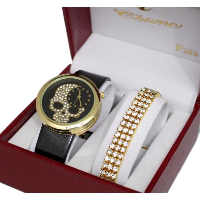 montre femme tete de mort bracelet cuir gold dore plus. Black Bedroom Furniture Sets. Home Design Ideas