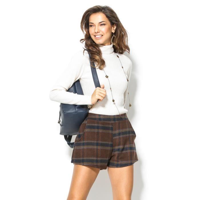 9ec6f1cb5223d Short à carreaux femme VENCA Marron - Achat   Vente short - Soldes ...