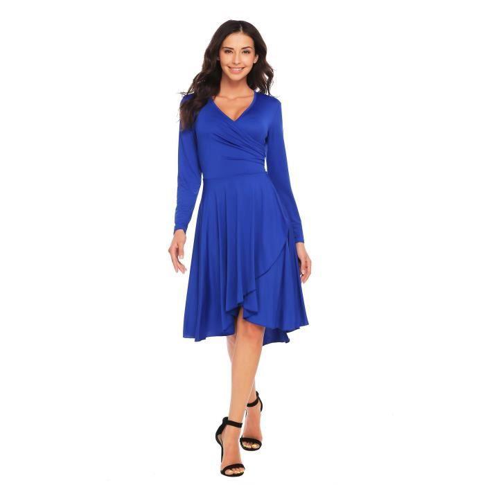 robe plissée de grande balançoire à manches longues V-cou
