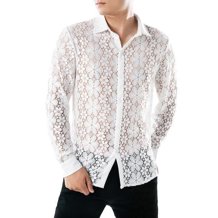 rencontrer 4d9c1 3b765 Chemises à manches longues en dentelle pour hommes Chemises à manches  longues en dentelle blanc _ZSY