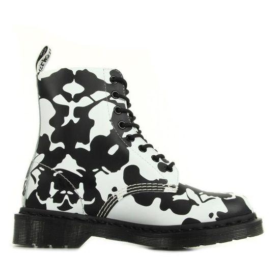 f0c46ce71148b Boots Dr Martens Pascal Black and White Ink Blot Backhand Blanc Blanc, noir  - Achat   Vente bottine - Soldes  dès le 9 janvier ! Cdiscount