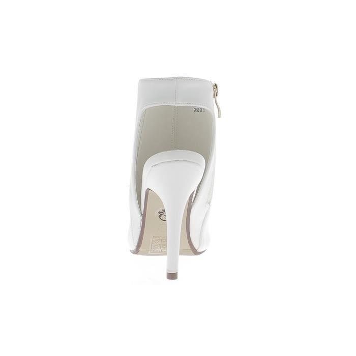 Bottines ouvertes blanches à talon fin de 11,5cm