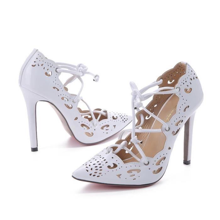 Femmes Mode sexy personnalité creuse fine avec Brochage Chaussures à talons hauts Chaussures de mariage,rose,4.5