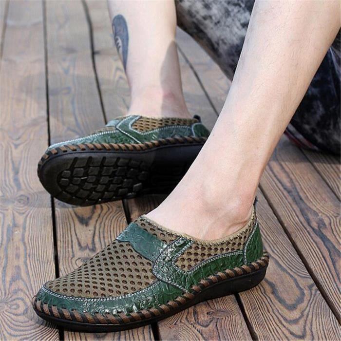 Homme Mocassin Marque De Luxe Chaussures de filet perméable à l'air Hommes AntidéRapant Chaussure PerméAble à L'Air Plus De Bijmqa
