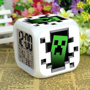 HORLOGE Minecraft Lumières colorées LED réveil Creeper 1