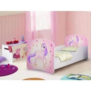 lit enfant motif rose et licorne avec sommier et matelas 140x70cm achat vente lit complet. Black Bedroom Furniture Sets. Home Design Ideas