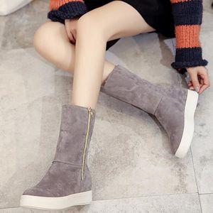 BOTTE Mode dames femmes bottes plates hiver chaud chauss