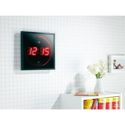 horloge digitale murale avec 60 led radiopilotée rouge achat