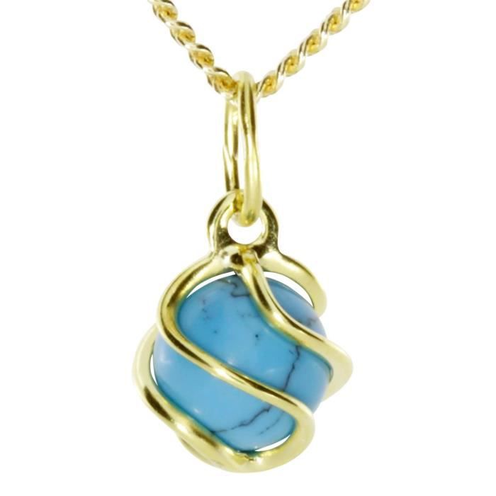 2450100013401 - Pendentif Femme - Or Jaune 8 Cts 333-1000 - Turquoise Z8P0R