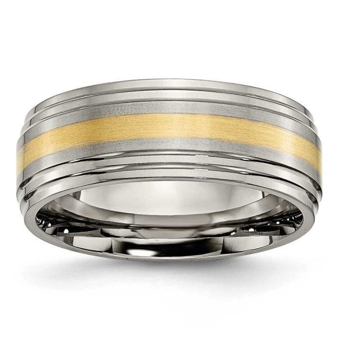 En titane avec centre or 8 mm brosse/poli 14 carats-Z Taille 1/2 -