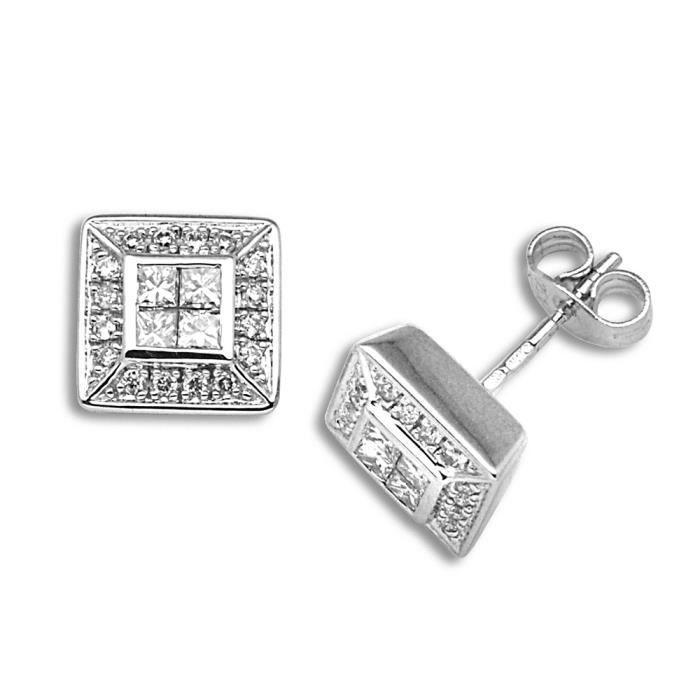 Jewelco London sans-conflit Femmes Solide Or Blanc 18k Monture Chaton Rond Brillant HI I1 Diamant Fenêtre Goujon Boucles dOreilles