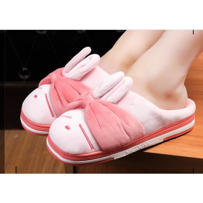 Chaussons Peluche Pantoufles Hommes Et Femmes Chaussons Hiver Slipper lapin Shoes Mashimaro Chaussure Animal Taille 36-41 ogbwSgd