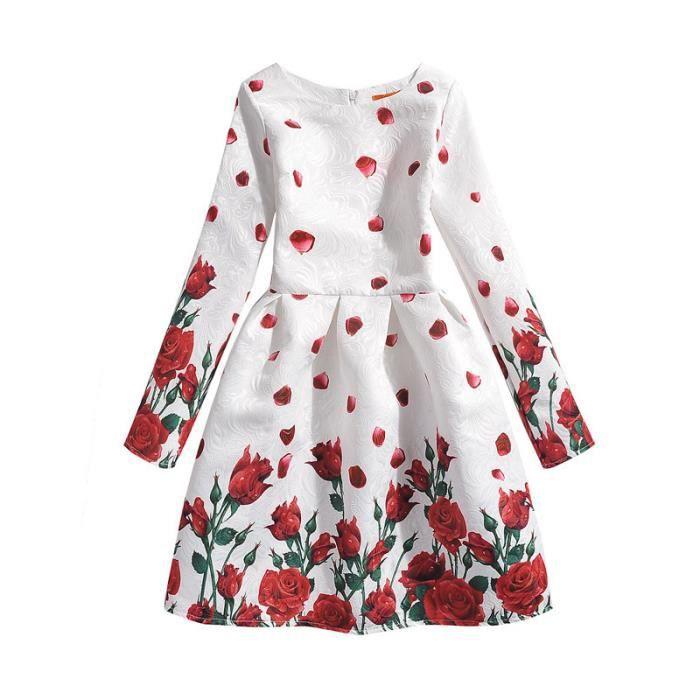 4a9485a4416 Robe Fille Manches Longues Robe Rose Pour Enfant Fille 6-12 ans ...