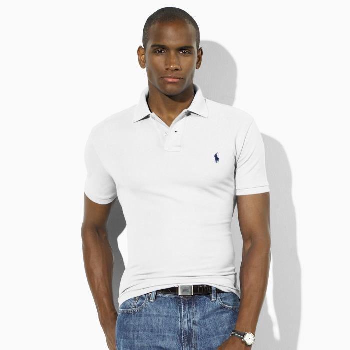 Polo Ralph Lauren Manche Courte Homme Blanc blanc - Achat   Vente ... c324f71f2881