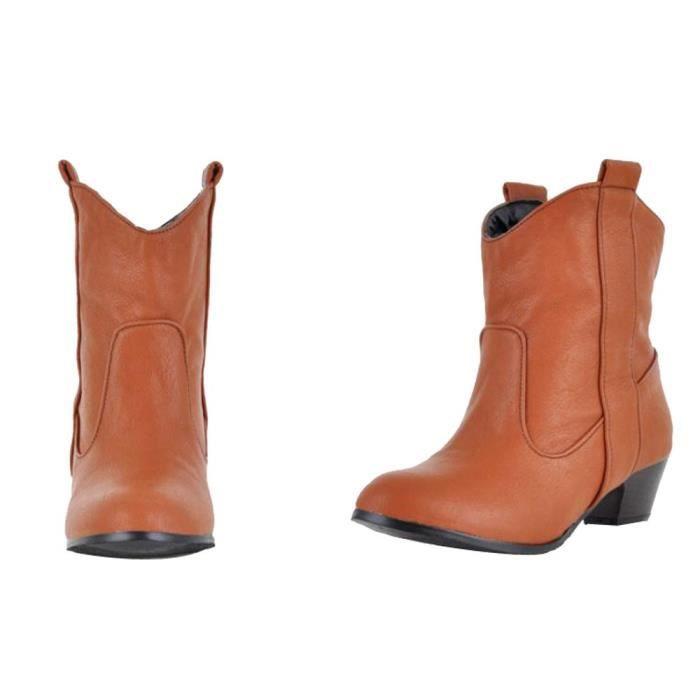 Avec Mode Les Haut Jaune En Épais Chaussures Bottines Femmes Talon Femme Cuir Bottes rUwqArx