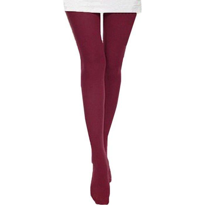 beguin® Automne Brunissure Collants Opaques Collants Bonbons Leggings  couleur Piétinement Vin rouge e883e0a44eb