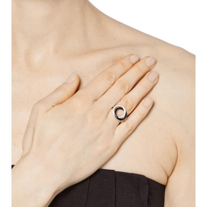 Mes-bijoux.fr - Bague Femme en Céramique Noire et Argent 925-1000- 7BH9121BAgv_60