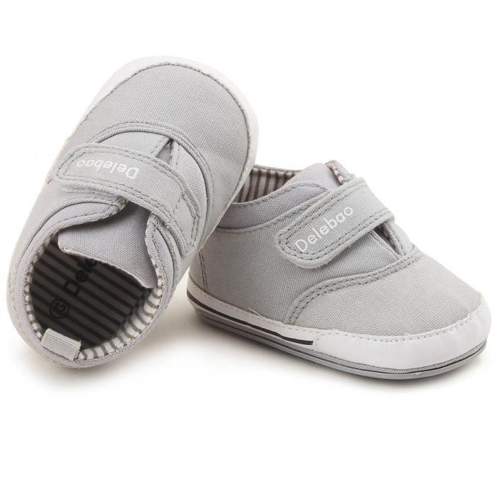 BOTTE Printemps Automne Walker Bébé Chaussures Garçon Fille Doux Semelle Dentelle Sneaker@Gris