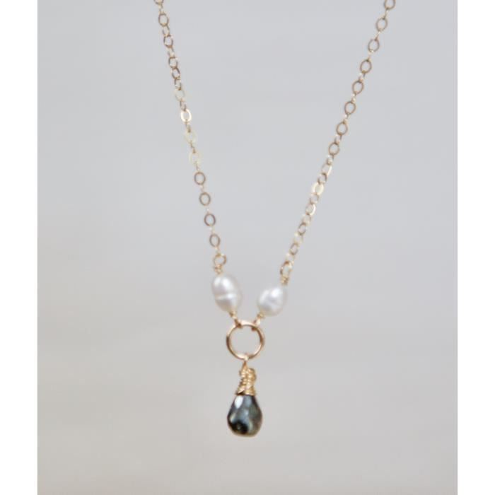 Womens Black Spinel And Freshwater-cultured Pearl Necklace - 18 Necklace A7D8J