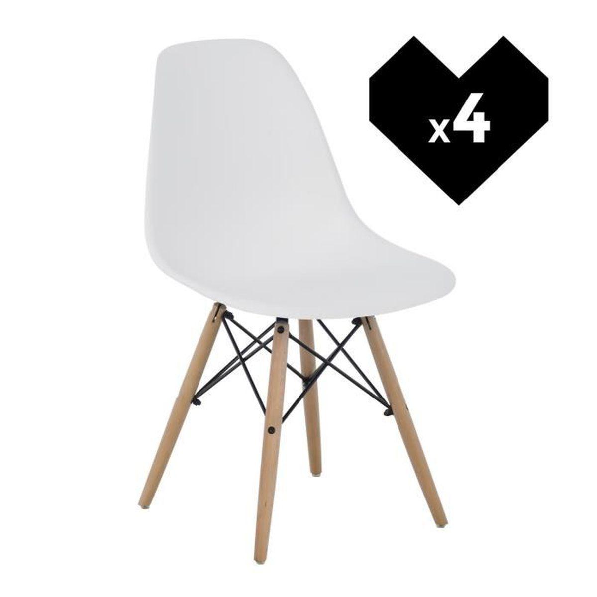 CHAISE Lot De 4 Chaises Design Scandinave Blanc Bois Natu