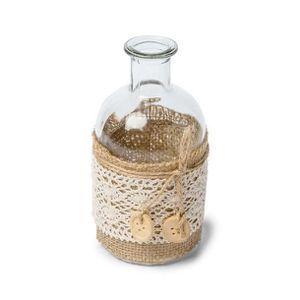 VASE - SOLIFLORE Vase bohème déco jute et dentelle