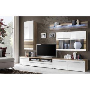 Meuble tv marron blanc - Achat / Vente pas cher