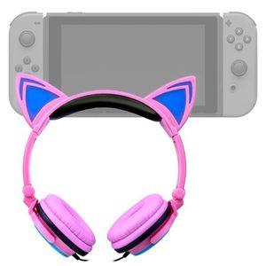 HOUSSE DE TRANSPORT Casque audio rose lumineux pour Console de jeux Ni