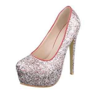 03e36e3d99ced ESCARPIN Femme chaussures escarpin scintillement Plateau Hi