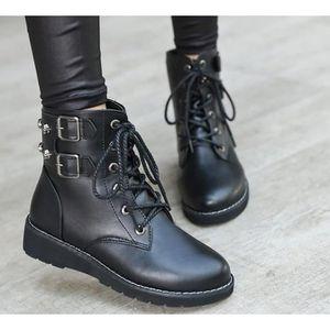 Bottine femme personnalité Courroies Chaussures suédé Beau Mode Martin Haut qualité Bottines femmes Antidérapa dssx706jaune35 3nRS2T0Xcw