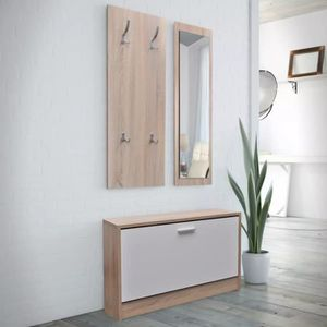 MEUBLE D'ENTRÉE Vestiaire d'entrée 3 éléments en bois Blanc et asp