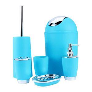 6pcs Kit Accessoires Salle De Bain Pour Toilette Bleu Dq France