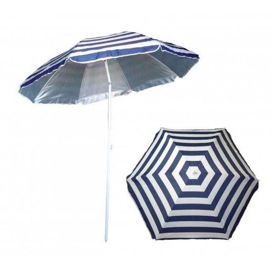 Parasol de plage anti UV rayé bleu et blanc marinière   Achat