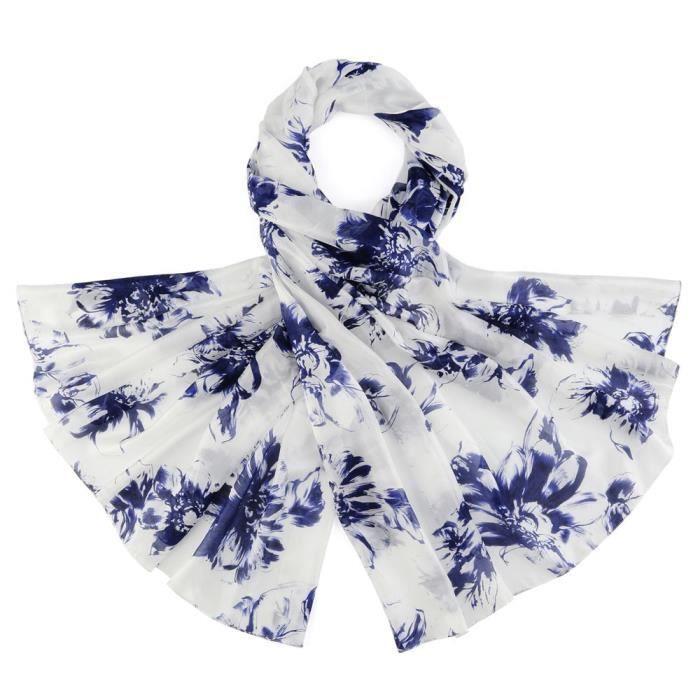 Etole soie Fusain Floral - Couleur - Marine Bleu - Achat   Vente ... 2b31c974e67