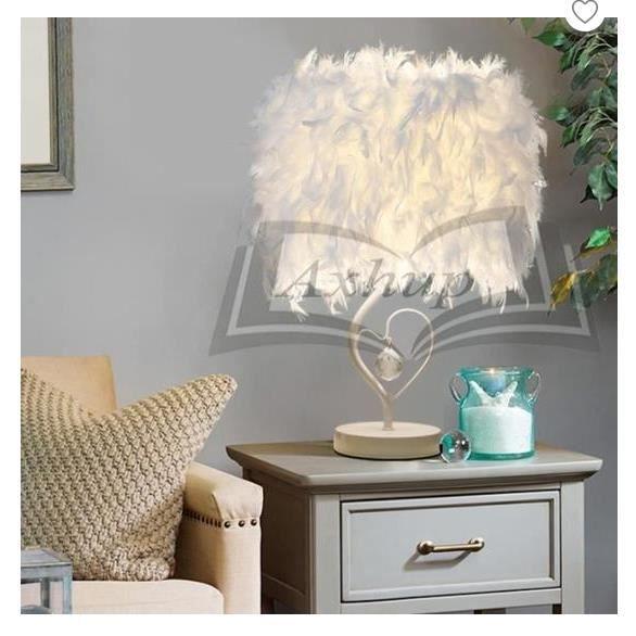 lampe de chevet luminaire plume chambre vintage chambre Décoration de  maison, lampe de table moderne