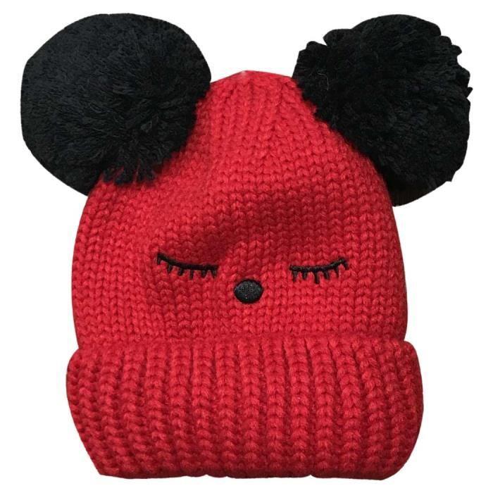 Bonnet à pompon - enfant - rouge Rouge - Achat   Vente bonnet ... 56f682054ec