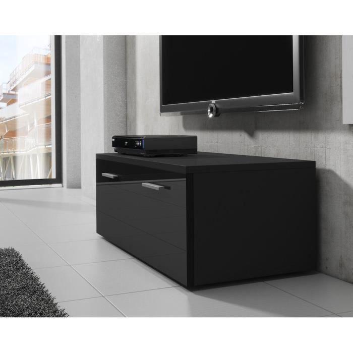 Meuble Tv 100 Cm En Mdf Noir Mat Et Porte Laquée Achat Vente