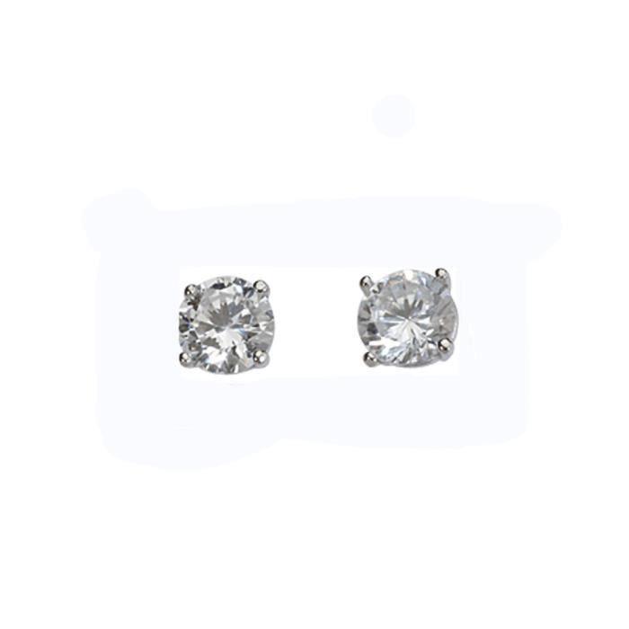 Jouailla - Boucles doreilles argent rhodié 925-1000e et Oxyde de Zirconium