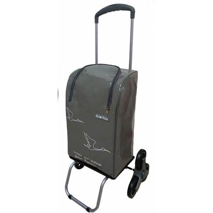 Chariot de courses 6 roues monte-escalier imperméable 40L/30kg Poignée  télescopique, fermeture éclair (6 roues)