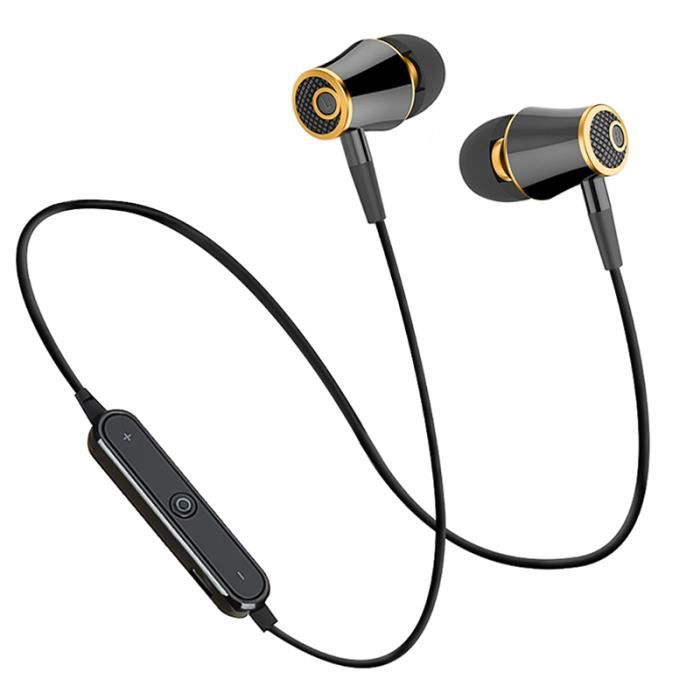 Black Gold Sport Bluetooth Écouteurs Sans Fil Courir Casque Stéréo Super Bass À La Sueur Avec Mic