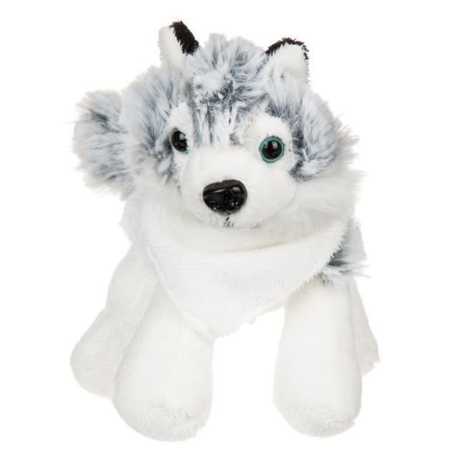 histoire d 39 ours peluche chien husky noir et blanc doudou pm 16 cm blanc blanc noir bleu. Black Bedroom Furniture Sets. Home Design Ideas