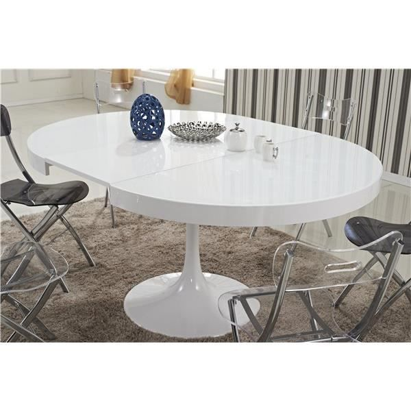 Table à manger seule table ronde extensible tulipe blanche